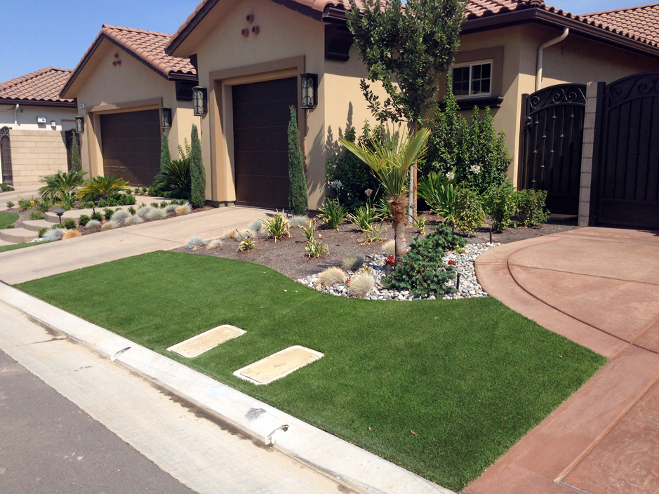 Plastic Grass Grayson, California Garden Ideas, Small Front Yard Landscaping